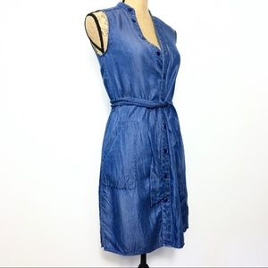 Laundy Chambray Sleeveless Casual Belted Dress 2